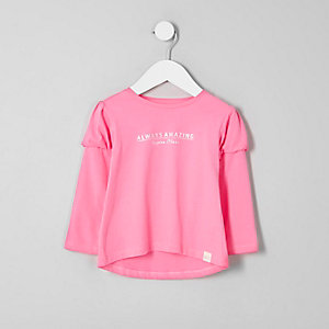 Mini girls pink print puff sleeve T-shirt