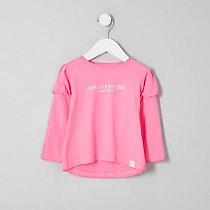 Mini - Roze T-shirt met pofmouwen en print