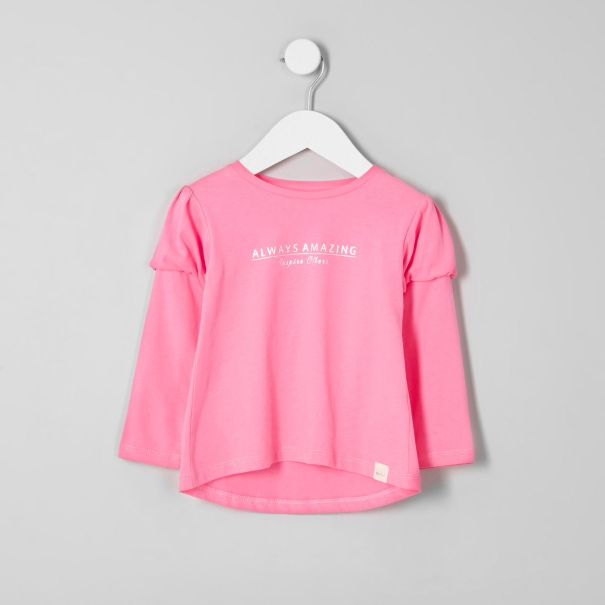 Mini girls pink print puff sleeve T-shirt