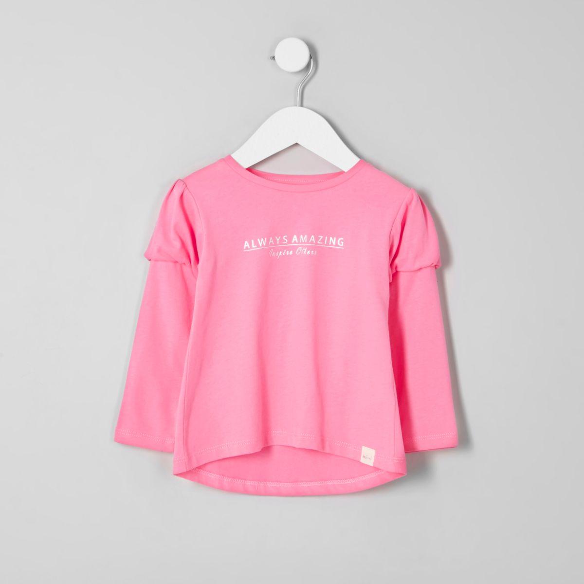 T-shirt imprimé rose à manches bouffantes mini fille