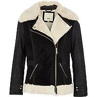 Girls black faux fur collar aviator jacket