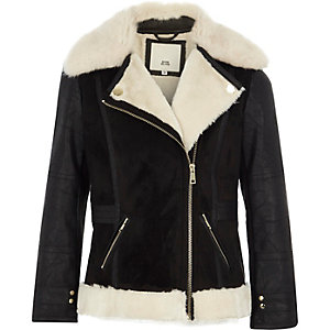 Girls black faux fur collar aviator jacket