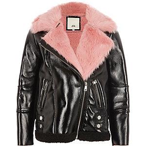 Blouson aviateur en vinyle noir à doublure imitation peau de mouton rose pour fille