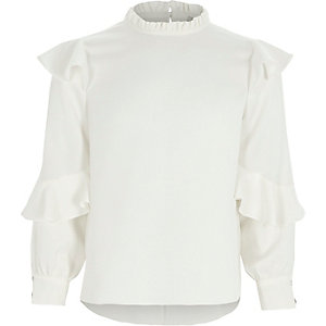 Girls cream frill sleeve ruffle high neck top