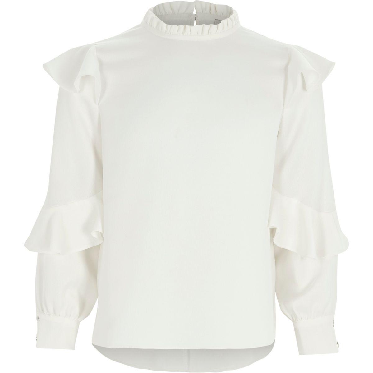Girls cream frill sleeve ruffle high neck top