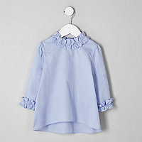 Mini girls blue ruffle neck top