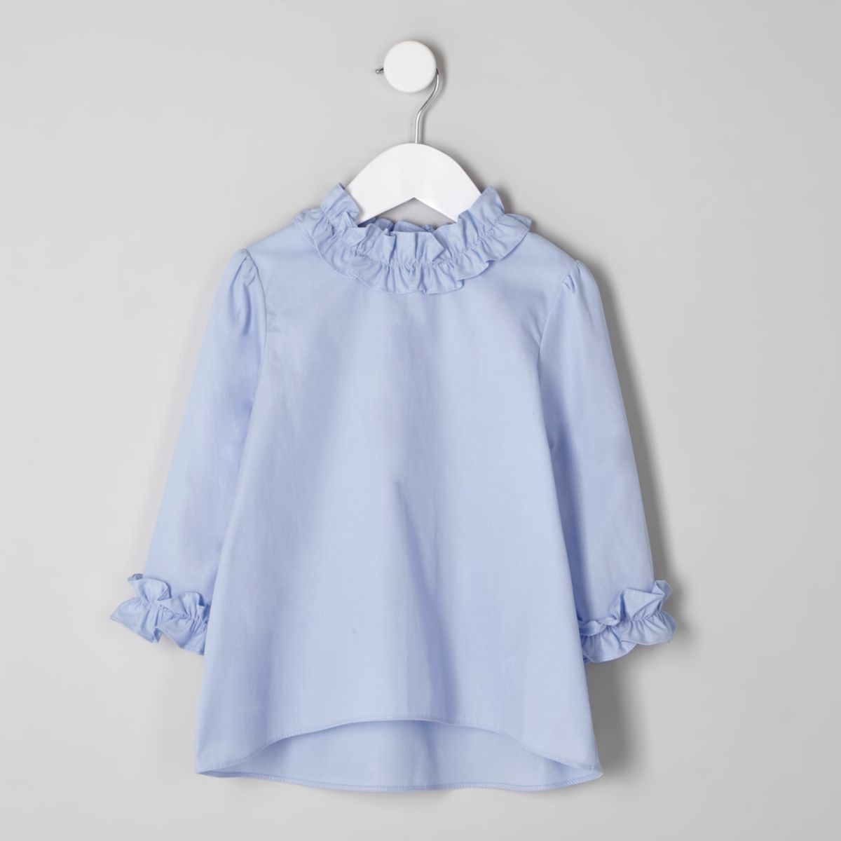 Mini girls blue ruffle neck top