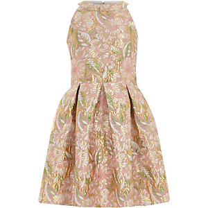 Girls pink floral brocade sleeveless prom dre