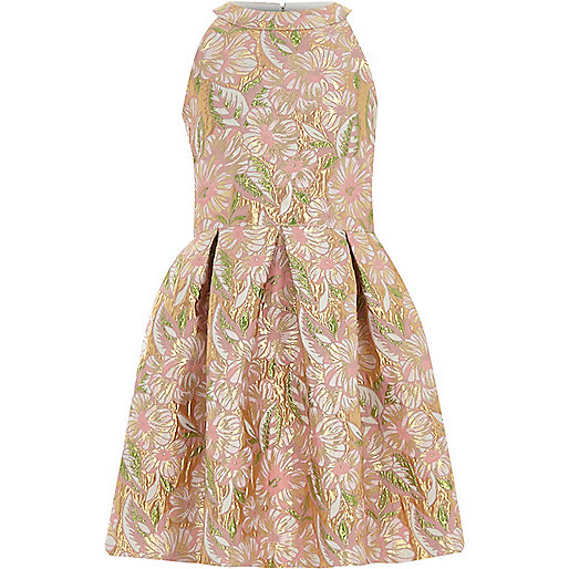 Girls pink floral brocade prom dress - Party Dresses ...