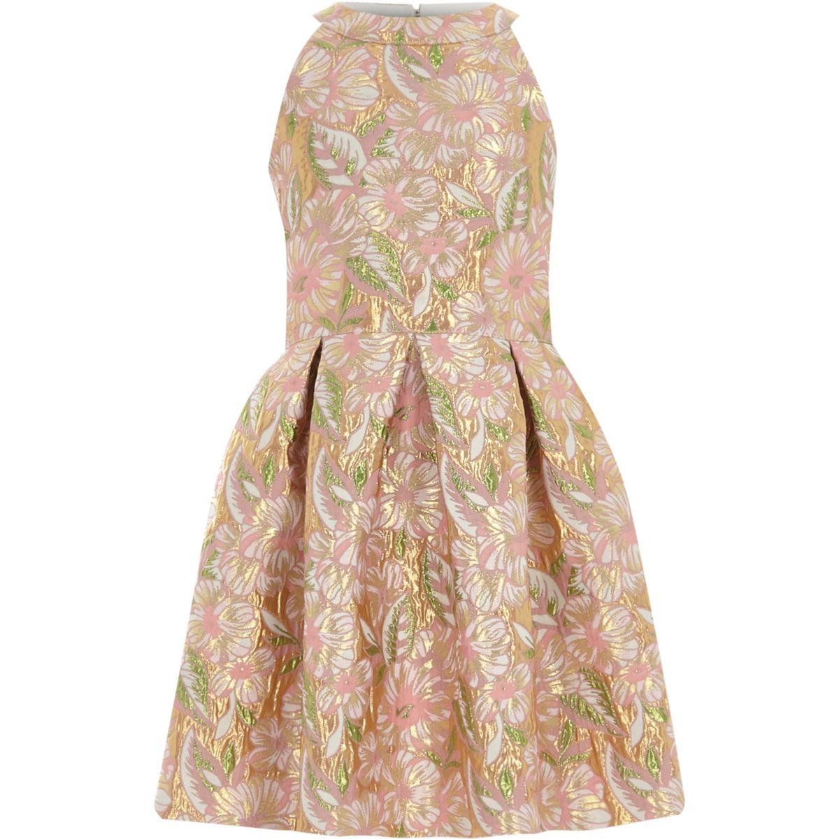 Girls pink floral brocade prom dress
