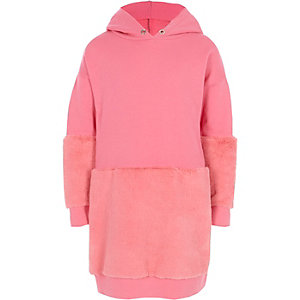 Girls pink faux fur hem hoodie dress