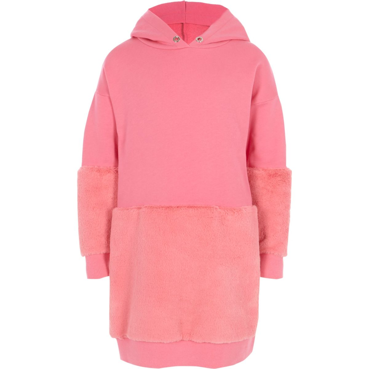 Girls pink faux fur hem hoodie dress