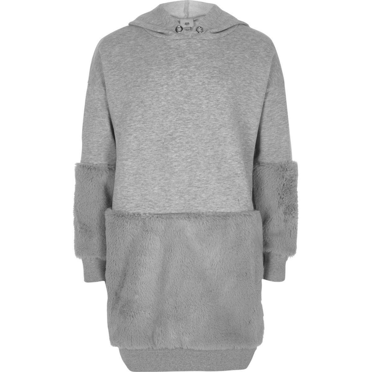 Girls grey marl faux fur hem hoodie dress