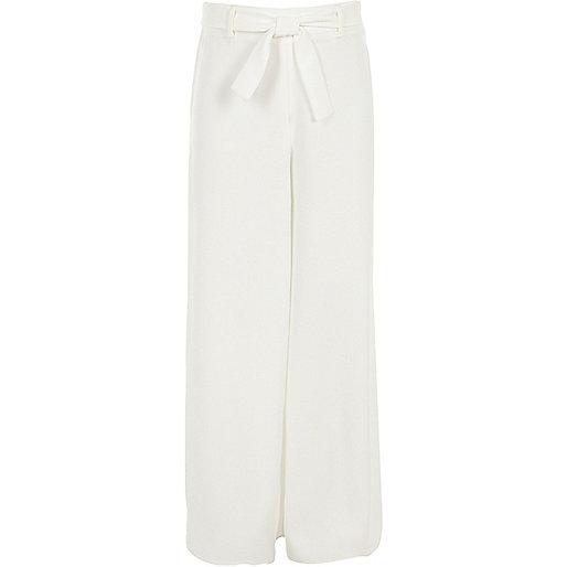 Girls white palazzo trousers