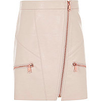 Girls light pink faux leather A line skirt