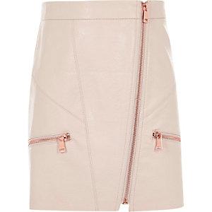 Jupe trapèze en cuir synthétique rose clair pour fille