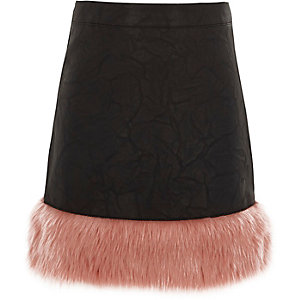 Girls black faux leather faux fur hem skirt