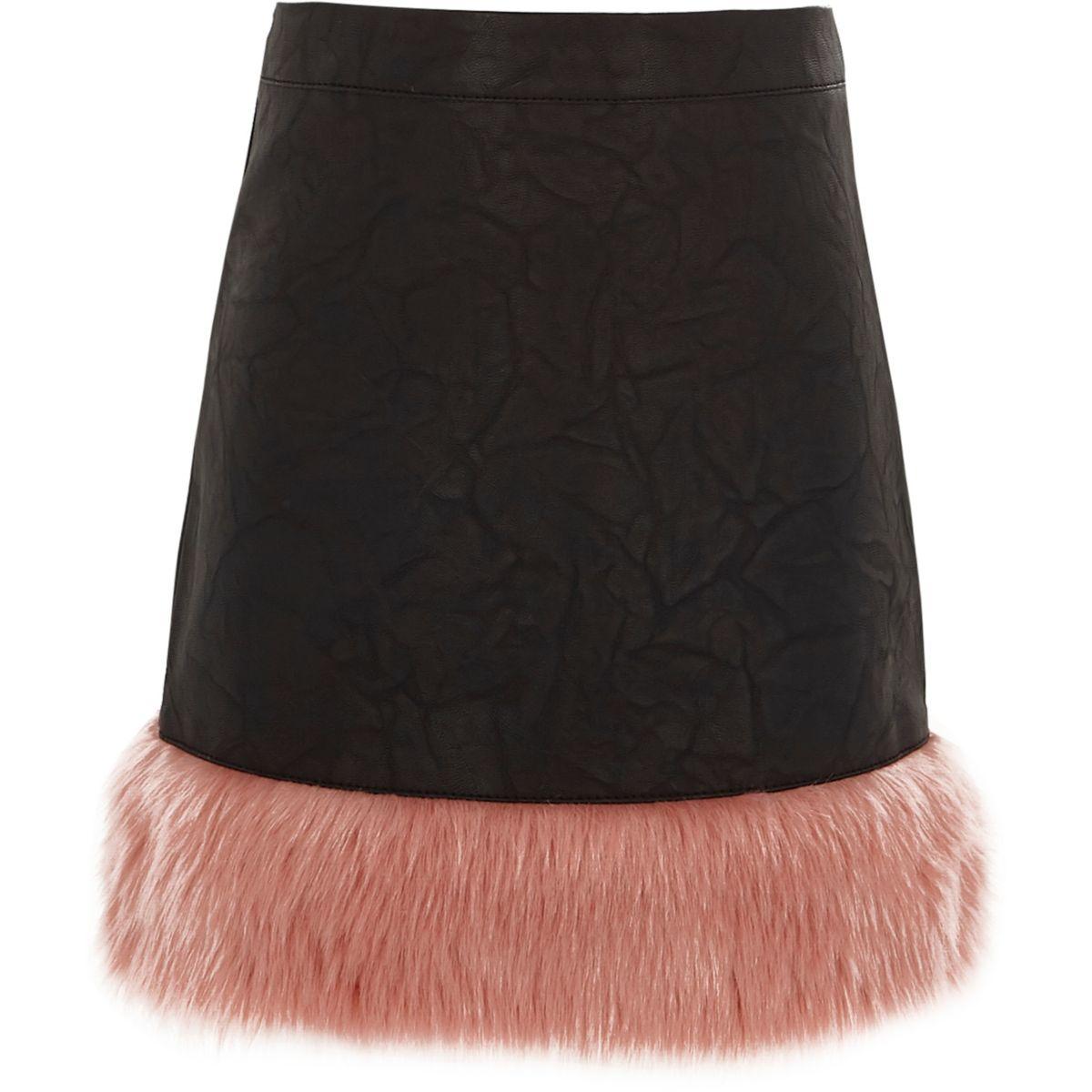 Girls black faux leather faux fur hem skirt