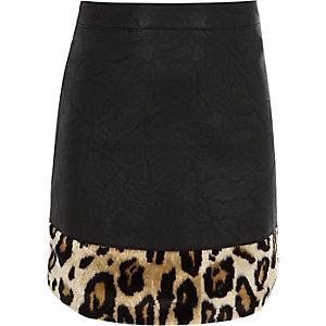 Zwarte imitatieleren rok met luipaardprint voor meisjes