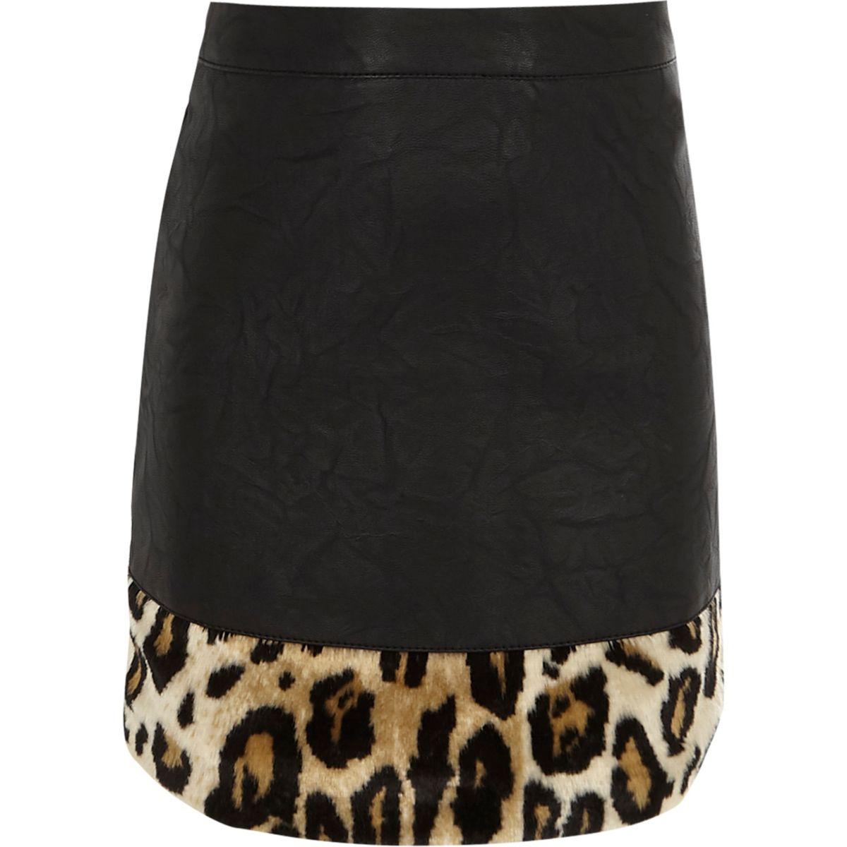 Jupe en cuir synthétique imprimé léopard noire pour fille
