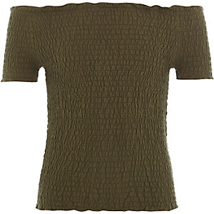 Girls khaki shirred bardot top