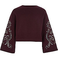 Girls burgundy bell sleeve cropped sweatshirt