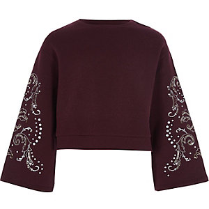 Girls burgundy bell sleeve cropped sweatshirt
