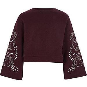Bordeauxrood cropped sweatshirt met klokkende mouwen voor meisjes
