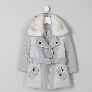Mini girls faux fur collar belted biker coat