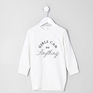 Mini girls 'girls can' sweatshirt dress