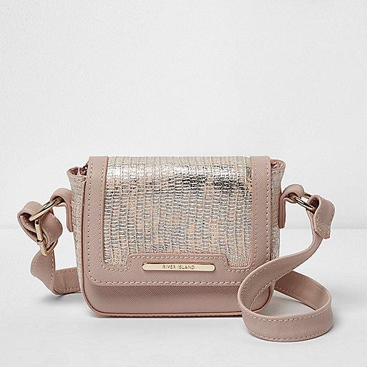 Girls pink snake embossed crossbody bag