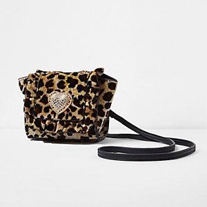 Sac à bandoulière en velours imprimé léopard fille
