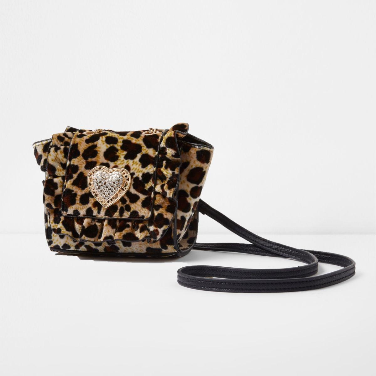 Girls leopard print velvet mini crossbody bag
