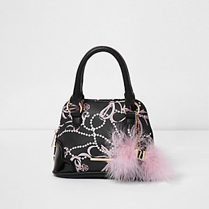 Girls black pearl print feather mini tote bag