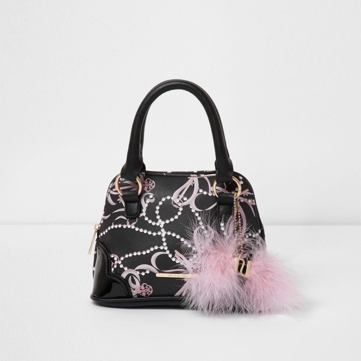 Girls black pearl print feather mini tote bag