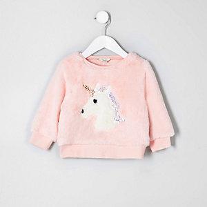 Mini girls faux fur unicorn sweatshirt