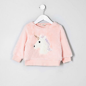 Mini girls faux fur unicorn sweatshirt