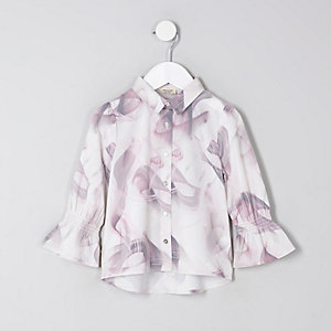 Mini Girls Grey Marble Print Shirt