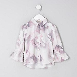 Mini Girls Grey Marble Print Shirt
