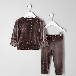 Mini - Outfit met grijs velours sweatshirt met ster voor meisjes