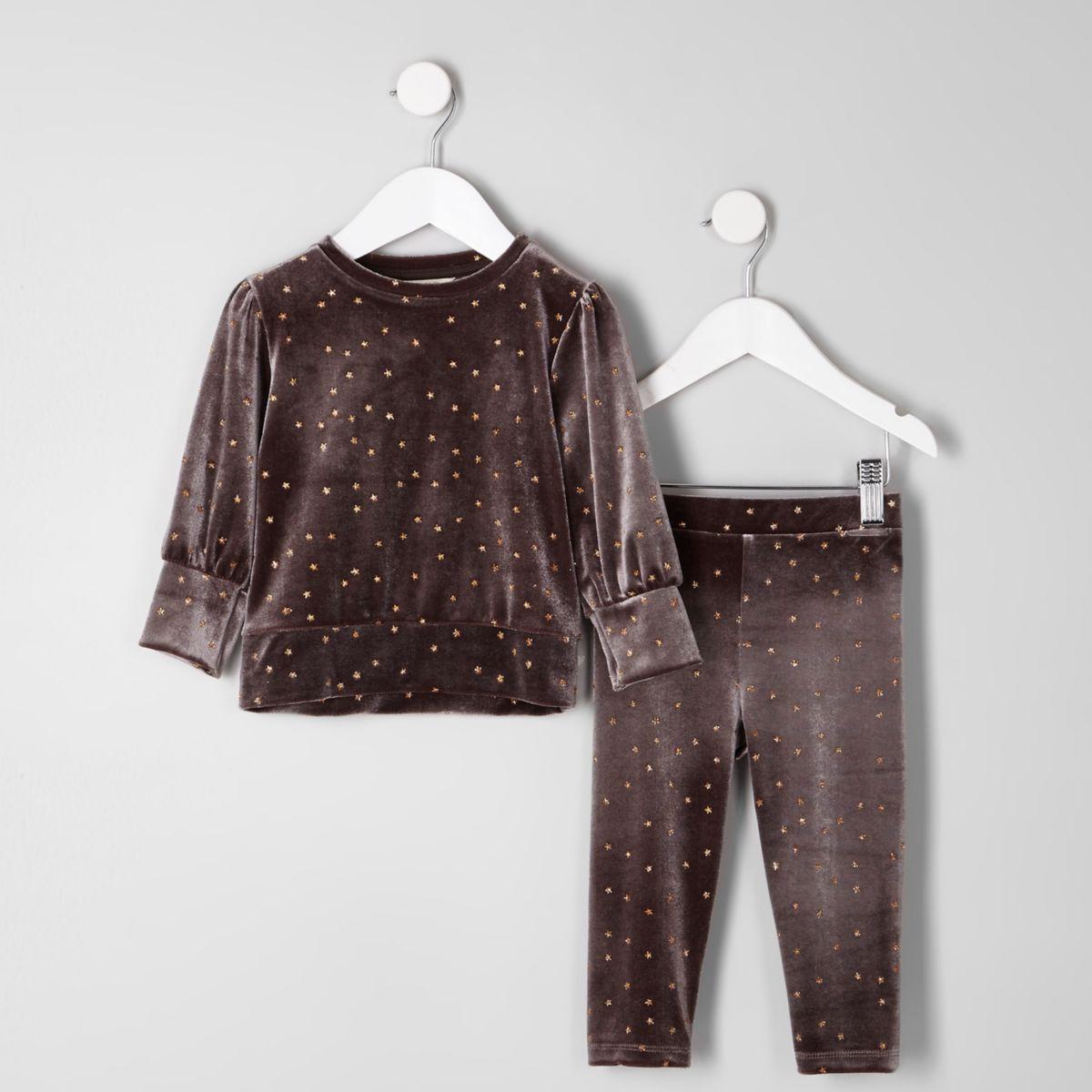 Mini girls grey velour star sweatshirt outfit