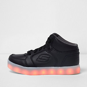 Kids black Skechers light-up hi top sneakers