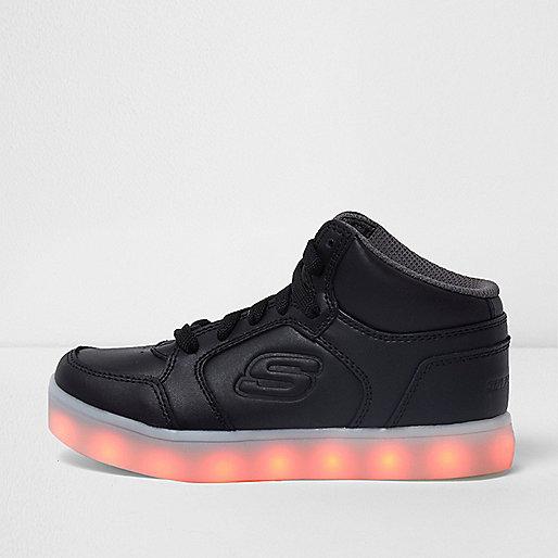 Kids black Skechers light-up hi top sneakers