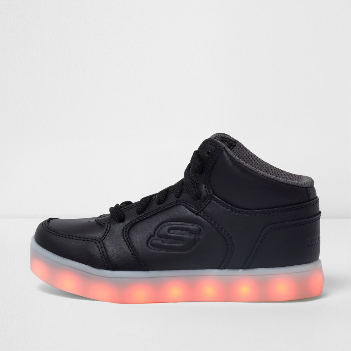 Kids black Skechers light high top trainers