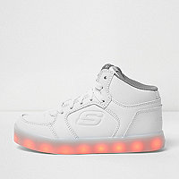 Kids white Skechers light-up hi top trainers