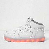 Kids white Skechers light-up hi top sneakers