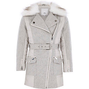 Girls grey belted faux fur trim coat
