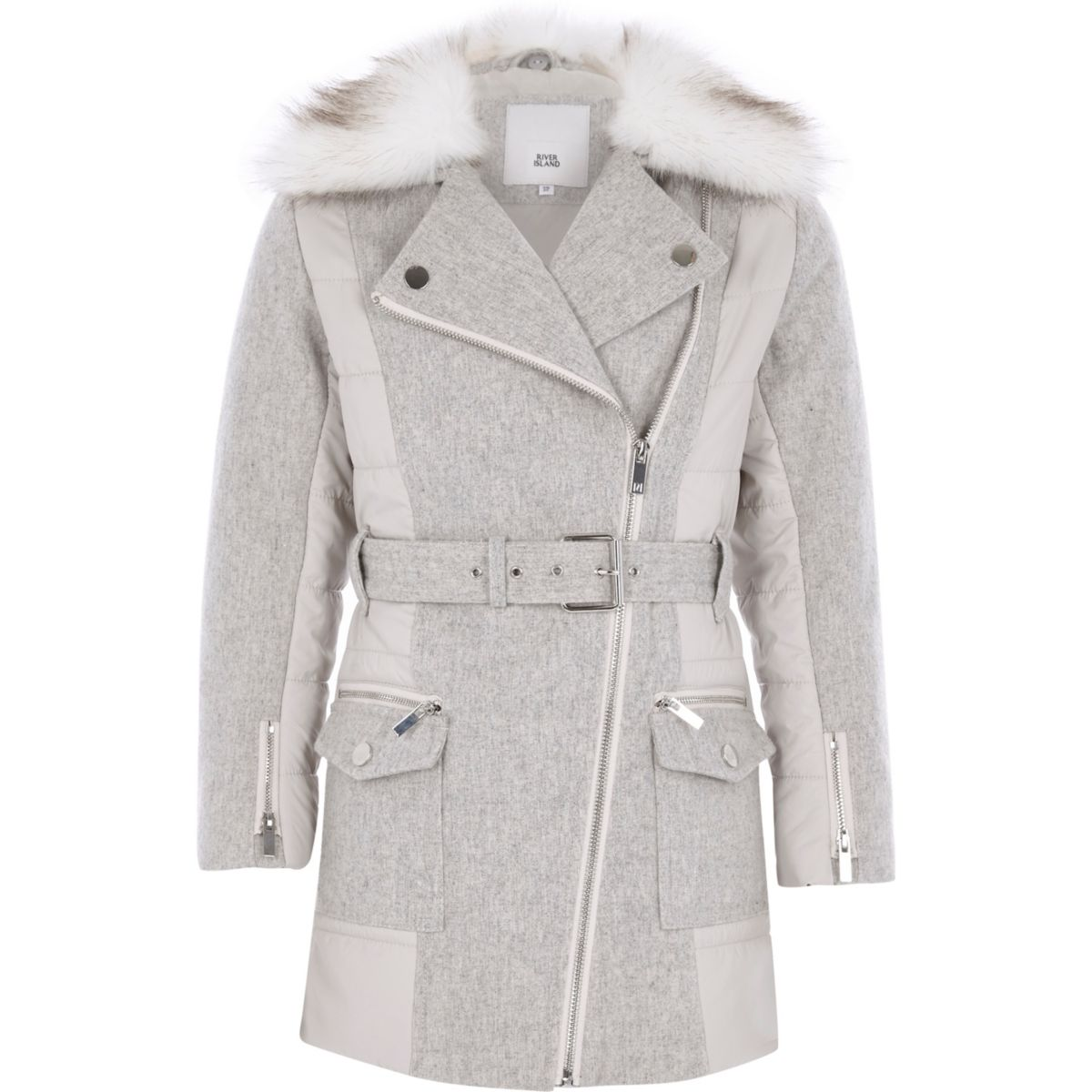 Girls grey belted faux fur trim coat