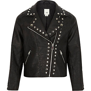Girls black studded faux leather biker jacket