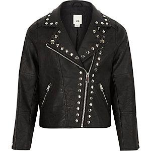 Girls black studded faux leather biker jacket